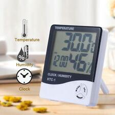 Room Digital LCD Thermometer Hygrometer Humidity Meter Indoor Temperature Clock
