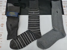 RALPH LAUREN Exquisite Sock Signature Logo Stripe Charcoal 3 pk Socks BNIP  RP£26 7af3ed4c26ee