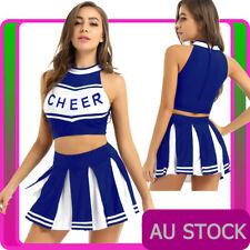 Ladies Blue Cheerleader Costume School Girl Uniform Girls Outfits Fancy Dress