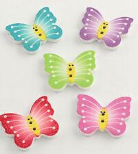 6 Holzknöpfe Mix Schmetterling Butterfly Nähen 21 x 25 x 2.5 mm, Bohrung: 1,5mm