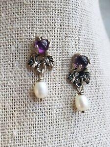 Genuine Amethyst Cabochon Sterling Silver Drop Dangle Earrings