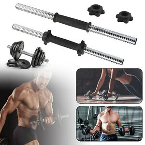 "18""Dumbbell Bars With Spinlock Collars Chrome Weight Lifting Bar Set 1"" Dumbbell"
