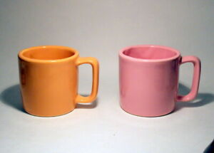 2 Early McCoy MARCREST PINK and Coral PASTEL Ceramic Mugs