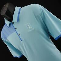 Men Adidas Climachill Blue Performance Short Sleeve Golf Polo Shirt Size Large L