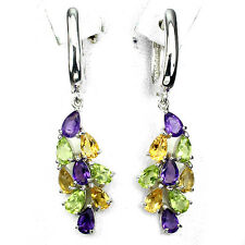 Sterling Silver 925 Peridot, Citrine and Amethyst Cluster Design Earrings