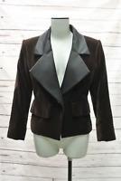 Yves Saint Laurent Vintage Jacket Brown Velvet Size 34 Black Satin Lapel Blazer