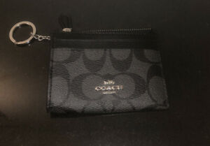 Coach Mini Skinny ID Case Key Chain Wallet Signature Canvas Black Smoke/ Black