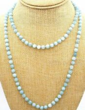 "Genuine Natural 8mm Blue Brazil Aquamarine Beads Jewelry Necklace 36"" Long AAA+"