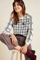 NEW Anthropologie sweater Shaz plaid houndstooth black white Top SZ Medium M