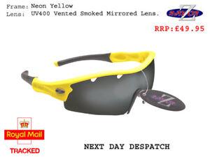 RayZor Yellow Sports Wrap Sunglasses Uv400 Vented Smoke Mirrored Lens RRP£49 (22