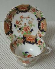 Antique China TEA CUP & SAUCER by CHELSON Floral Rust Cobalt Gold Trim Handpaint