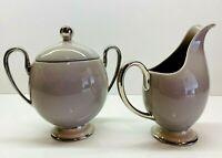 "Vintage 1950's FRANCISCAN CHINA ""PALOMAR"" Silver Trim Cream & Sugar Set"