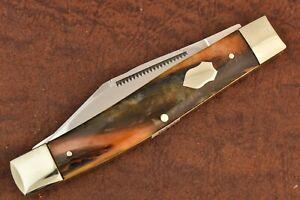 BULLDOG BRAND SOLINGEN GERMANY CELLULOID JUMBO STOCKMAN KNIFE 2004 NICE (8470)