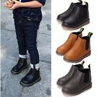 Baby Kids Boys Girls Zip Leather Snow Ankle Boots Toddler Children Winter Shoes