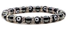 "Magnetic Hematite Tuchi Pearl Bracelet with Black Evil Eyes & Crystal Beads 7.5"""