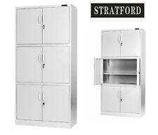 Stratford Light Grey Metal Cabinet 6 Door Cupboard 6 Shelves 185cm Tall Storage