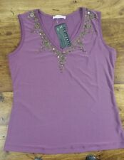 LADIES PURPLE SEQUIN BEADED SLEEVELESS TOP SIZE 14 - 16 BNWT