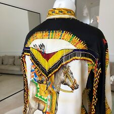 GIANNI VERSACE iconic Native Americans print silk women's shirt w/ beaded fringe