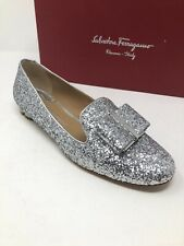New Salvatore Ferragamo Womens Shoes Ladies Silver Sciacca Shoes Size 6.5 37