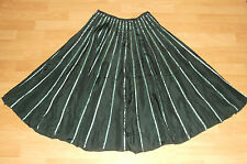 Phase Eight dark TEAL green SILK Satin ribbon stripe Summer Swing SKIRT 8 UK