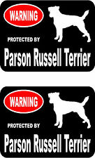 2 protected by Parson Russell Terrier dog car home window vinyl decals stickers