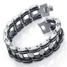 MENDINO Men's Rubber Stainless Steel Bracelet Bicycle Link Chain Black Silver