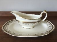 1920s Hancock & Sons Corona ware  serving plate & gravy boat - gold / Greek key