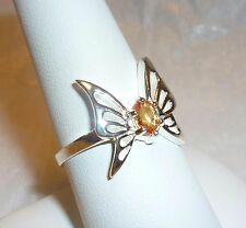 Butterfly Yellow Sapphire Solitaire 925 Silver Ring Size 8.5 w gift box Unique