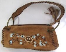 Wilson Leather Maxima Small Purse Bag, Embroidered Suede Floral Design