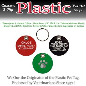 ROUND PLASTIC Pet Dog Cat Identification Name Tags-A Custom Engraved ID Tag