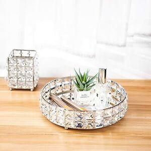 Modern Mirrored Crystal Vanity Makeup Tray Ornate Jewelry Trinket Tray Organizer