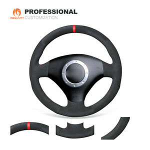 Custom Black Soft Suede Steering Wheel Cover for Audi TT A3 A4 S4 RS6 2001-2006