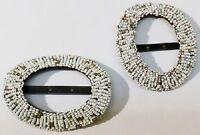 boucle de ceinture ancien bijou accessoire vintage tout de petites perles * 5075