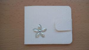 Geldgeschenk-Grusskarte °Blume aus Strass & Perlen° mit Geldumschlag -Handarbeit