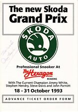Dennis Taylor Hand Signed On Front Of Hexagon Advance Ticket Order Form 1993