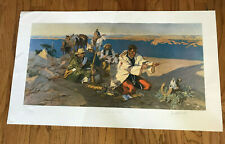 NED JACOB COWBOY/WESTERN ARTIST LARGE SIGNED/NUMBERED AMERICAN INDIAN ART PRINT