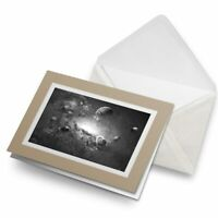 Greetings Card (Biege) BW - Space Planets Saturn Sci-Fi  #38312