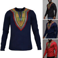 Men's African Ethnic Floral Casual T-Shirt Long Sleeve Dashiki Holiday Shirt Top