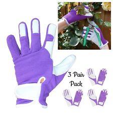3 Pr Pack - Ladies Purple Gardening Gloves Quality Soft Leather Girls Garden Glo