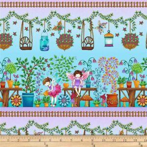 Studio E Fairy Land Fairies Border Fabric 100% Cotton per  1/2 Meter