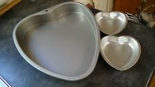 UNUSED HEART SHAPED METAL CAKE TIN + TWO SMALLER ONES