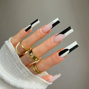 Gothic Black Long Coffin Detachable Press On Nails White Splicing Fake Nails