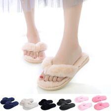 Women's Ladies Slip On Fluffy Fur Flats Slippers Mules Sandals Flip Flops Shoes