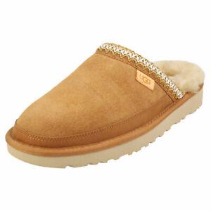 UGG Tasman Mens Chestnut Suede & Textile Slippers Shoes