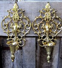 VINTAGE ORNATE GOLD TONE METAL WALL SCONCE HOME & GARDEN TAPER CANDLE HOLDERS