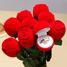 Red Velvet Rose Engagement Wedding Earring Ring Pendant Jewelry Box Case