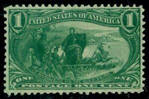 US #285, 1¢ Trans-Miss, og, NH, strong color, VF, Scott $75.00