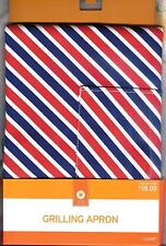 """RED, WHITE & BLUE STRIPED BBQ / GRILLING APRON WITH POCKET ~ 29"""" X 40"""" ~NEW~LQQK"""
