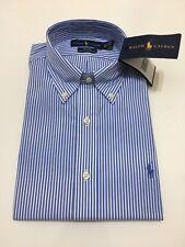 Ralph Lauren Men's Shirt  Blue And White Striped 100% Cotton Stretch