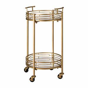 Glitzhome 27''H Tea Serving Bar Cart Modern Metal Mirror Glass Rolling Table New